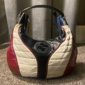 Gucci Patent Web Red White Black Leather Hobo